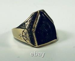 Antique Cameo Roman Soldier Ring 10K Yellow Gold Carved Hematite Ring Size 10.5