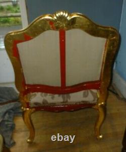 Antique Carved And Gilded Open Armchair