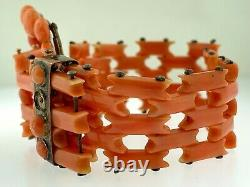 Antique Carved Gate Link Mediterranean Coral Buckle & Yellow Gold Bracelet withBox