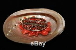 Antique Chinese Victorian Carved Red Coral Gold Filled Brooch Pin