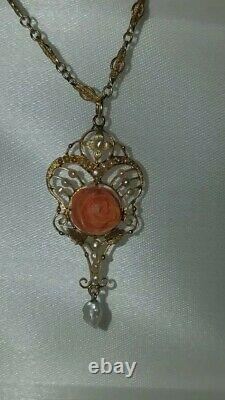 Antique Edwardian 10k Gold Victorian Carved-Coral&Pearl Lavalier Necklace 1800's