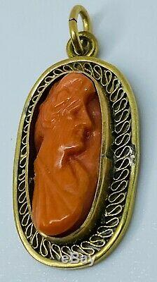 Antique Edwardian Carved Red Coral Cameo Set in 14K Gold Filigree Charm Pendant