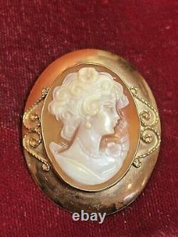 Antique Estate 14k Gold Cameo Pendant Pin Italy Pendant Victorian Hand Carved