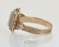 Antique Estate Victorian 10K Yellow Gold Hand Carved Gray & White Cameo Ring