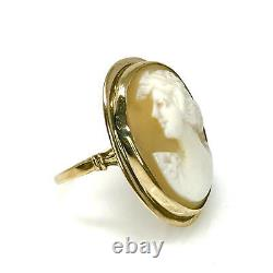 Antique Fine Carved Shell Victorian Cameo Solid 10k Gold Ring Size 5.75 Gorgeous