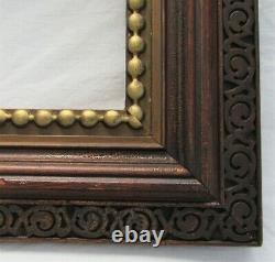Antique Fits 8x10 Dark Fumed Carved Oak Gold Gilt Victorian Country Primitive