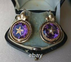 Antique French Victorian 18ct Gold carved star Amethyst Paste Hooked Earrings