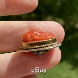 Antique Georgian Victorian 14k Gold Carved Red Coral High Relief Cameo Brooch