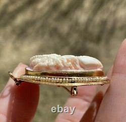 Antique Georgian Victorian Seed Pearl10k Gold Carved Cameo Brooch Pendant
