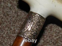 Antique Hallmarked 1896 9Ct Gold Jonathan Howell Walking Stick/Cane WithCarved Top
