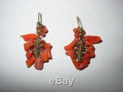 Antique Hand Carved Victorian Branch Red Coral & 14kt Gold Chandelier Earrings