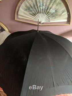 Antique Hull Parasol Umbrella Victorian Era Gold Filled Carved Mother Of Pearl