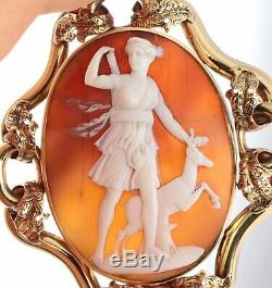 Antique Large Victorian 9Ct Gold Carved Cameo Brooch Of Diana c 1880's