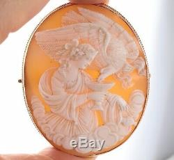 Antique Large Victorian 9Ct Gold Carved Cameo Brooch Of Hebe And Zeus