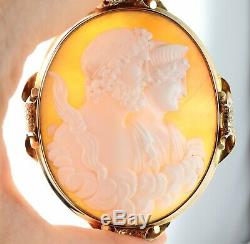 Antique Large Victorian 9Ct Gold Carved Cameo Brooch Of Zeus And Hera