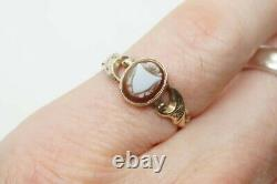 Antique MID Victorian English 9k Gold Carved Sardonyx Shield Signet Ring