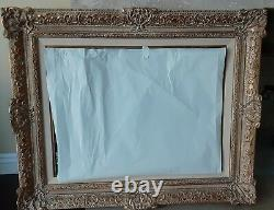 Antique Ornate Wood Carved Gold Gilt Frame With Original Oil Painting Signed 12Lbs