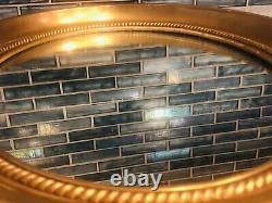 Antique Oval Mirror Gold Gilt Ornate Carved Roped Wood Frame Signed Stamp
