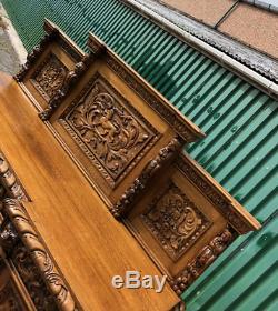 Antique Stunning Victorian Heavily Carved Golden Oak Sideboard