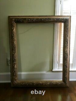 Antique Thick Carved Wooden Frame, Victorian, 34 X 31 Gold Floral Design