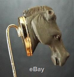 Antique VICTORIAN 10ct Gold Carved Lava Horse Head Stick Pin Stickpin Equestrian