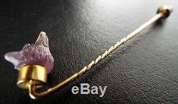 Antique VICTORIAN 18ct Gold Carved Amethyst Fox Head Garnet Stick Pin Stickpin