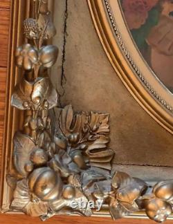 Antique VICTORIAN GILT GOLD CARVED WOOD FRAME YOUNG GIRL FLOWERS 19X 21