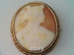 Antique VICTORIAN SOLID 10K GOLD Hand Carved CAMEO PIN ORNATE LOOK