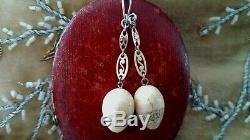 Antique Very Rare Victorian Carved Bovine & Coral Egg Silver & Gold Earrings