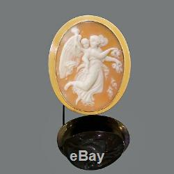Antique Victorian 10K Gold & Carved Cameo Figural Cherub Angel Nymph Pin Brooch
