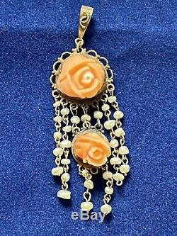 Antique Victorian 10K Gold Carved Pink Coral Seed Pearl Pendant Damaged
