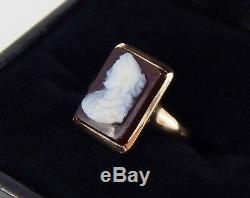 Antique Victorian 10K Rose Gold Carved Carnelian Ring Size 5 3/4