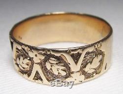 Antique Victorian 10K Rose Gold Carved Cigar Band Ring Sz 6.5 C1562