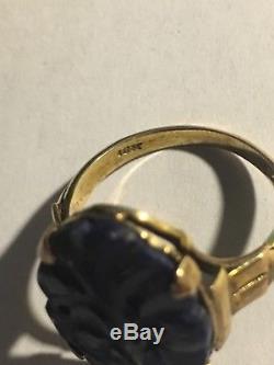 Antique Victorian 10K Rose Gold Hand Carved Blue Lapis Ring Size 6