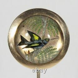 Antique Victorian 10K Rose Gold Hummingbird Bird Carved Essex Rock Crystal Stick
