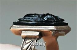Antique Victorian 10K Rose Gold Ring Mens Carved Black Onyx Cameo Roman Soldier