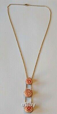 Antique Victorian 10K Solid Gold Carved Coral Rose Flower Drop Necklace