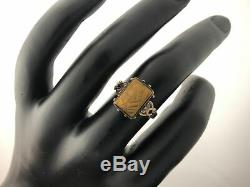 Antique Victorian 10K Yellow Gold Carved Women's Face Cameo Tigers Eye Ring
