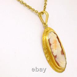 Antique Victorian 10K Yellow Gold Hand Carved & Set Cameo 16 Pendant Necklace