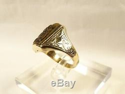 Antique Victorian 10 K Gold Carved Tiger Eye Lady Profile Cameo Sz 7.5 Ring