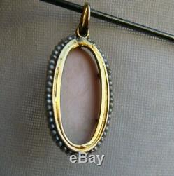 Antique Victorian 10 ct. Gold Natural seeds Pearls High Carving Cameo Pendant
