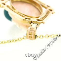 Antique Victorian 10k Gold Carved Hardstone Cameo Filigree Pearl Dangle Pendant