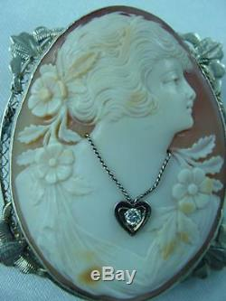 Antique Victorian 10k Gold Carved High Relief Shell Cameo Pin 0.07 Diamond #1621