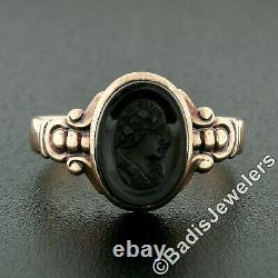 Antique Victorian 10k Gold Carved Intaglio Black Hardstone with Floral Sides Ring