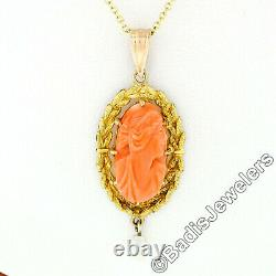 Antique Victorian 10k Gold High Relief Carved Coral Cameo & Pearl Dangle Pendant