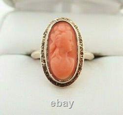Antique Victorian 10k Solid Gold Carved Coral Cameo Ring Sz 4.75