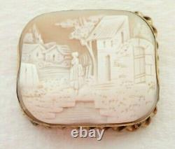 Antique Victorian 10k Solid Gold Carved Scene Cameo Shell 2 Brooch Pin 15.3gram
