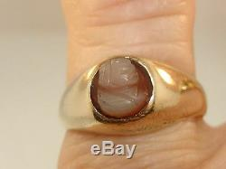Antique Victorian 10k Solid Gold Carved Shell Cameo Dome Ring! Unique