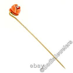Antique Victorian 10k Yellow Gold Carved Coral Rose & European Diamond Stick Pin