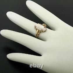 Antique Victorian 10k Yellow Gold Simple Petite Carved Pink Stone Cameo Ring